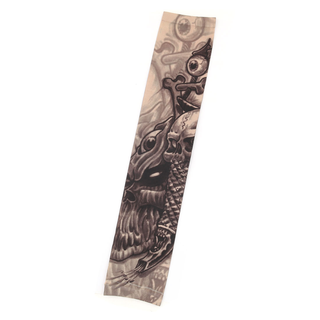 Unisex Outdoor Nylon Skull Print Sporting Camping Climbing Arm Protector Sleeve Black