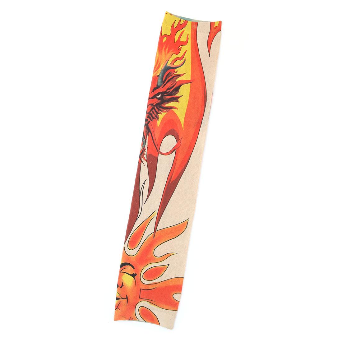 Man Nylon Dragon Print Elastic Climbing Cooking Fishing Arm Protector Sleeve Oversleeve Orange
