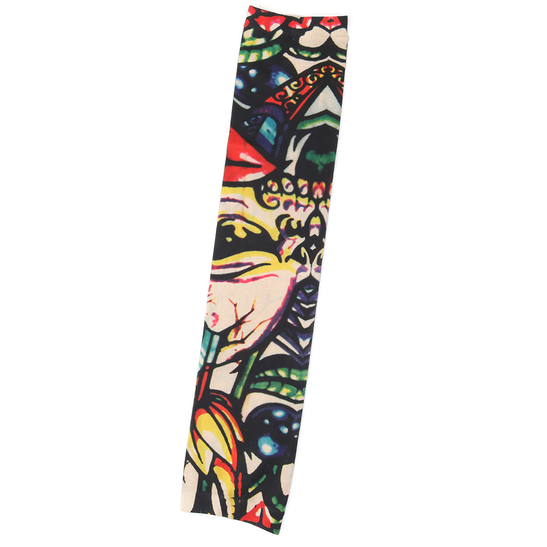 Outdoor Nylon Flower Print Stretchy Hiking Cleaning Arm Cover Sun Protection Sleeve