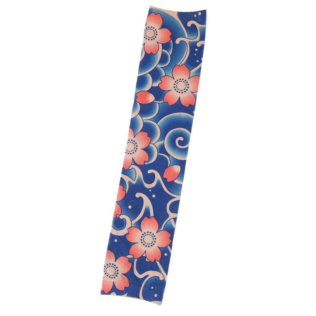 Nylon Flower Print Riding Cycling Running Stretchy Arm Cover Protector Sleeve Oversleeve