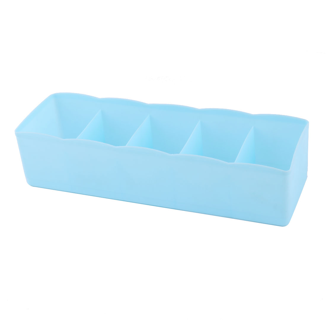 Home Plastic Rectangle 5 Compartments Desk Decor Sundries Organizer Storage Box Blue
