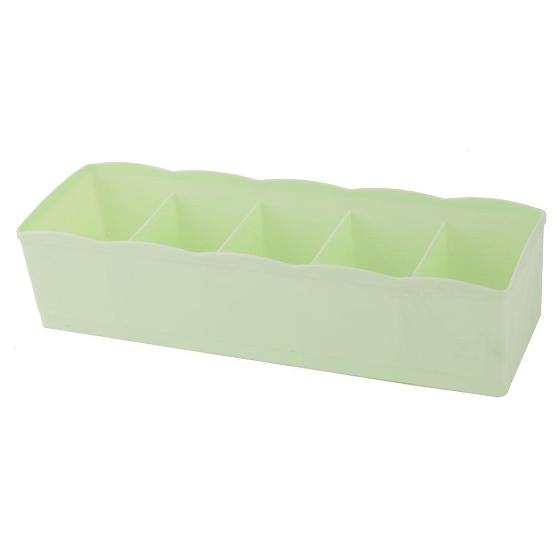 Plastic 5 Compartments Jewelry Cosmetics Holder Desk Decor Storage Box Case Pale Green