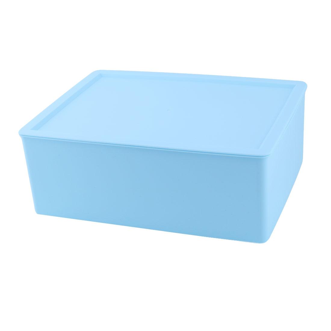 Family Plastic Rectangle Dresser Decor Cosmetic Underwear Socks Storage Holder Box Blue