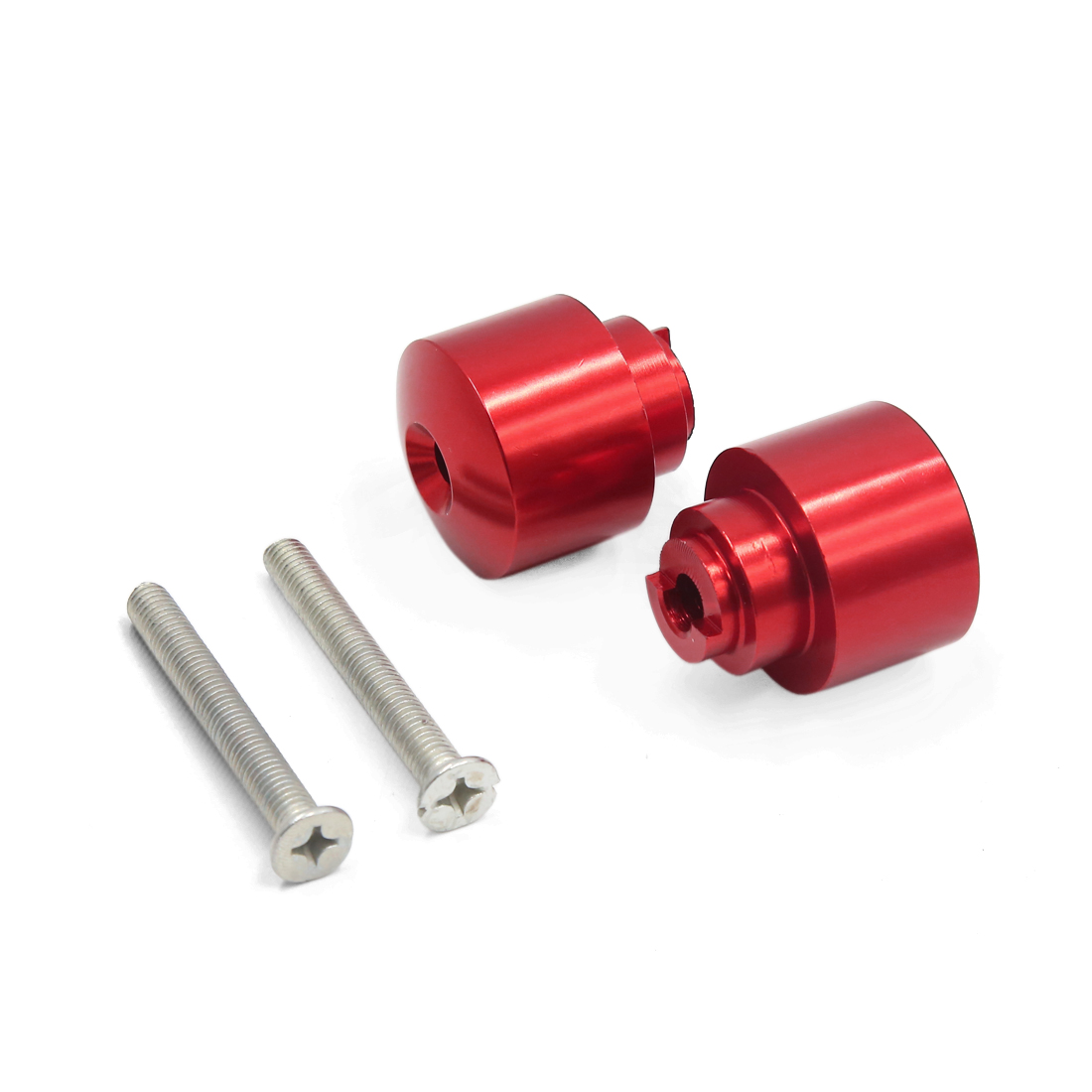2Pcs Universal Red Aluminum Alloy 21mm Handlebar End Cap for Motorcycle