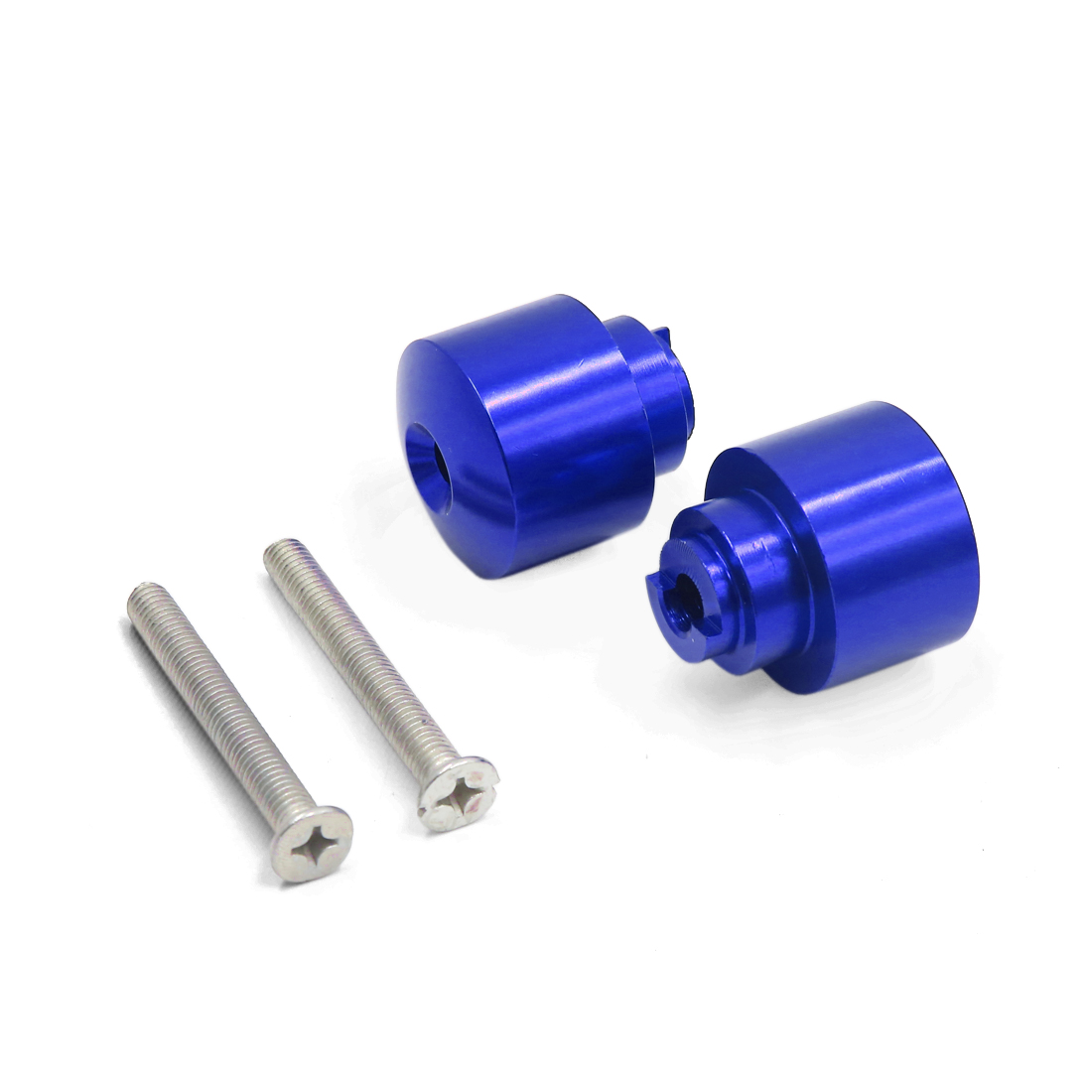 2Pcs Universal Blue Aluminum Alloy 21mm Handlebar End Cap for Motorcycle