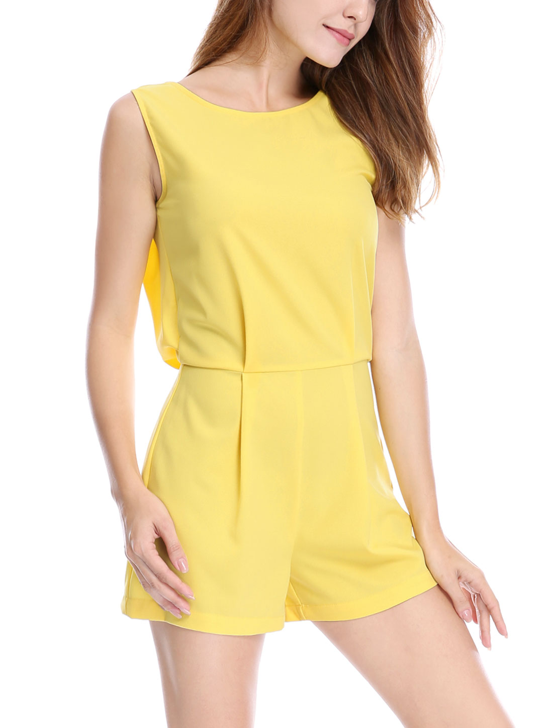 Women Sleeveless Crew Neck Lace Insert Back Romper Yellow L