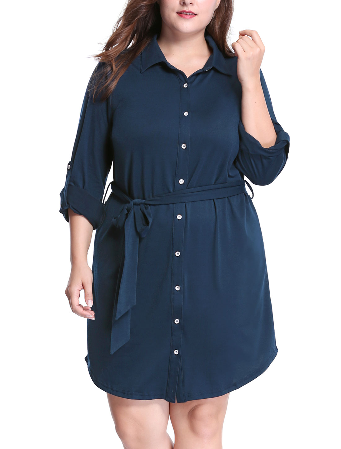Women Plus Size Roll Up Sleeves Above Knee Belted Shirt Dress Blue 1X