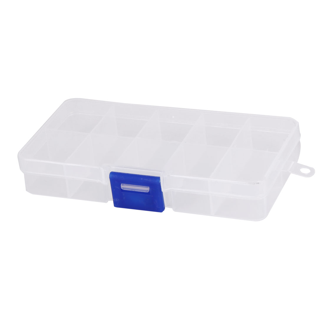 Family Plastic 10 Compartments Pills Capsule Cosmetics Storage Box Case Blue Clear