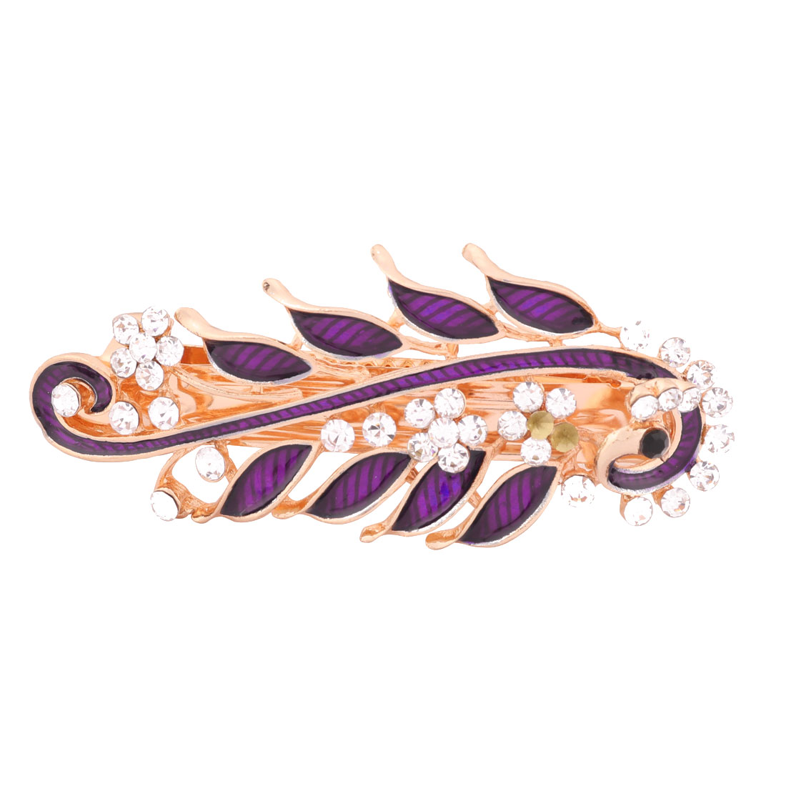 Women Metal Peacock Design Head Dressing Clip Hair Barrette Hairpin Purple