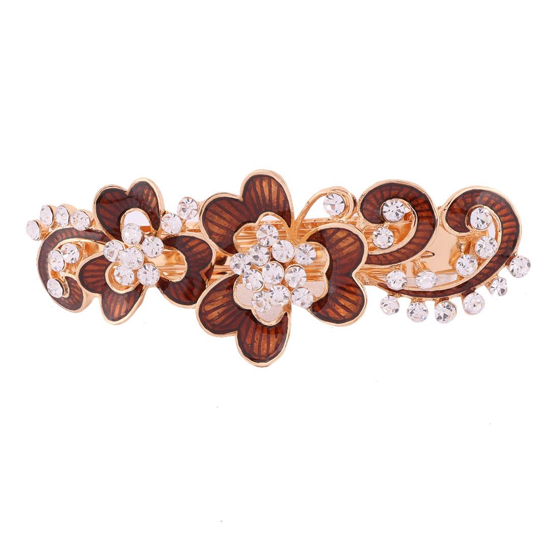 Metal Floral Design Faux Rhinestone Hairstyle Headwear Hair Clip Coffee Color