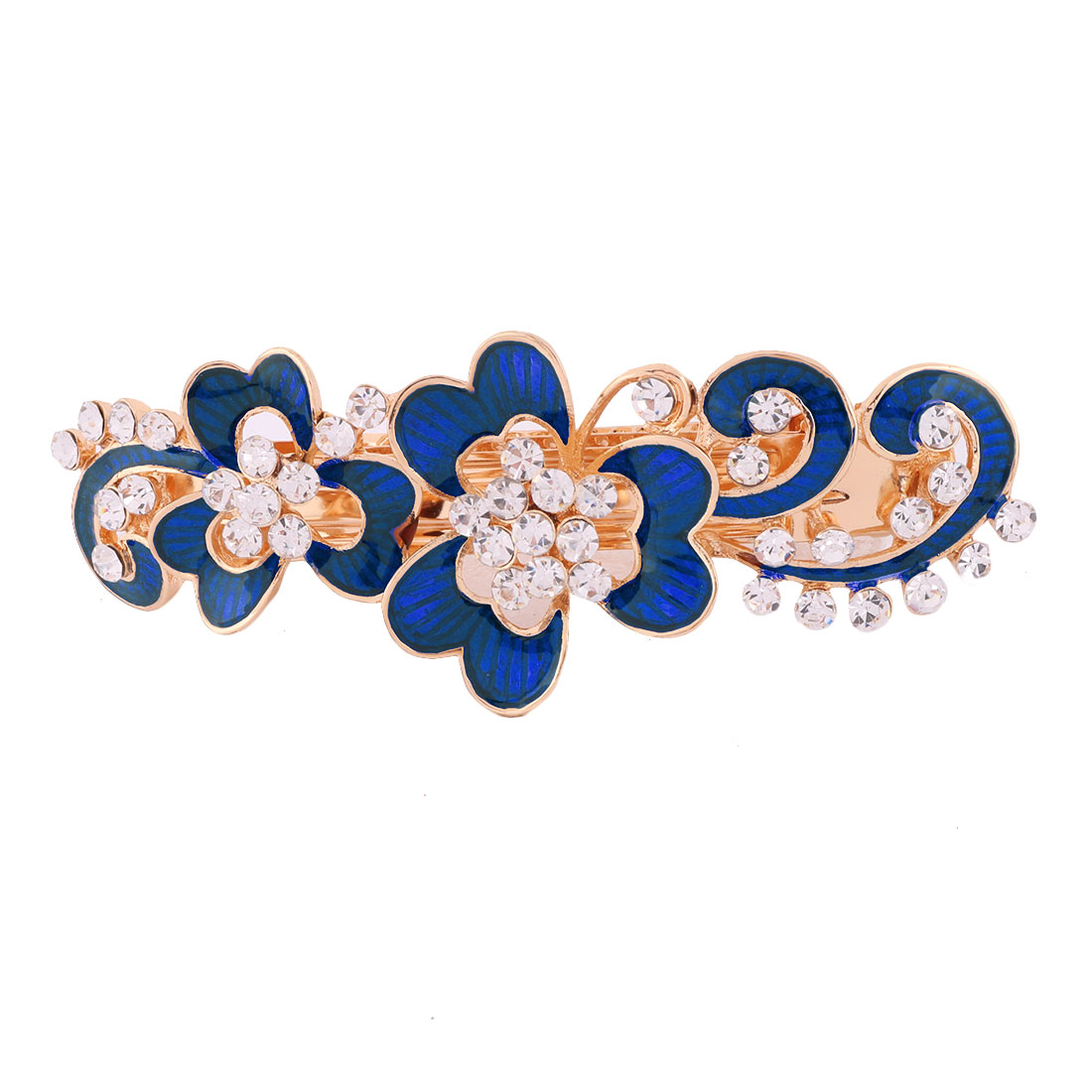 Women Metal Floral Design Faux Rhinestone Hairstyle Headwear Hair Clip Blue
