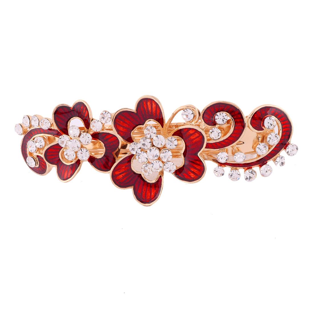 Women Metal Floral Design Faux Rhinestone Hairstyle Headwear Hair Clip Clasp Red