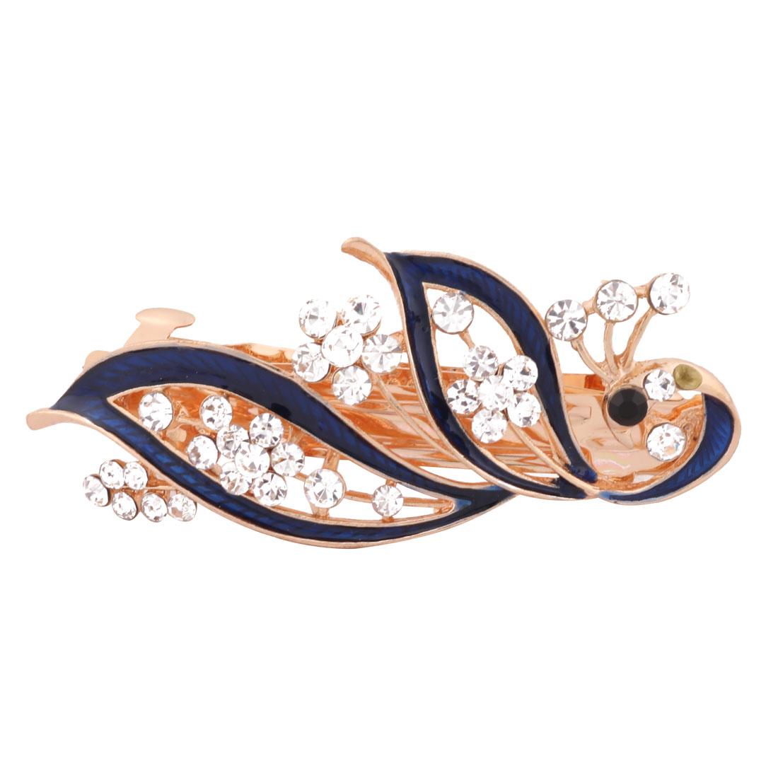 Women Wedding Peacock Design Faux Rhinestone Hairstyle Headwear Hair Clip Dark Blue