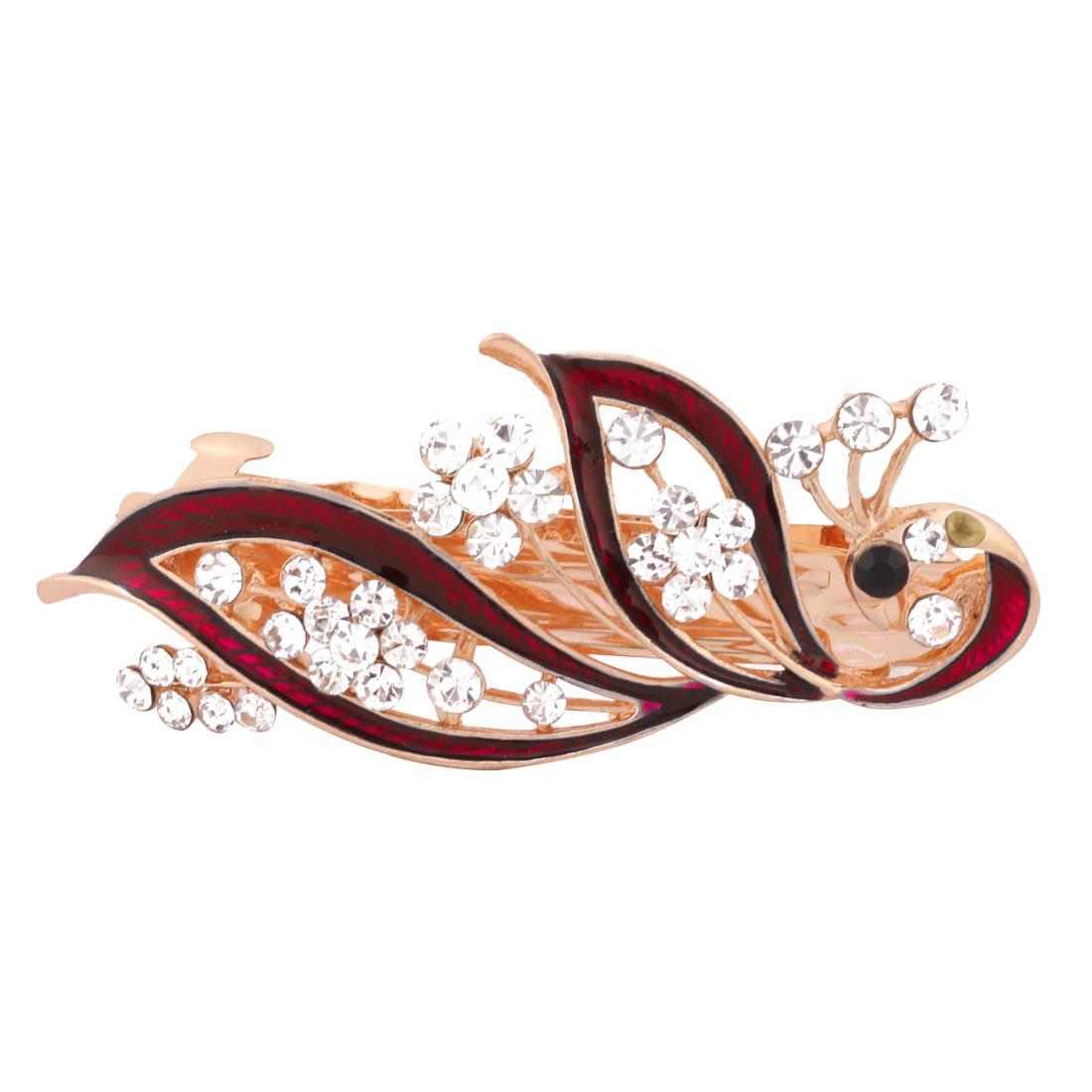 Women Wedding Peacock Design Faux Rhinestone Hairstyle Headwear Hair Clip Red