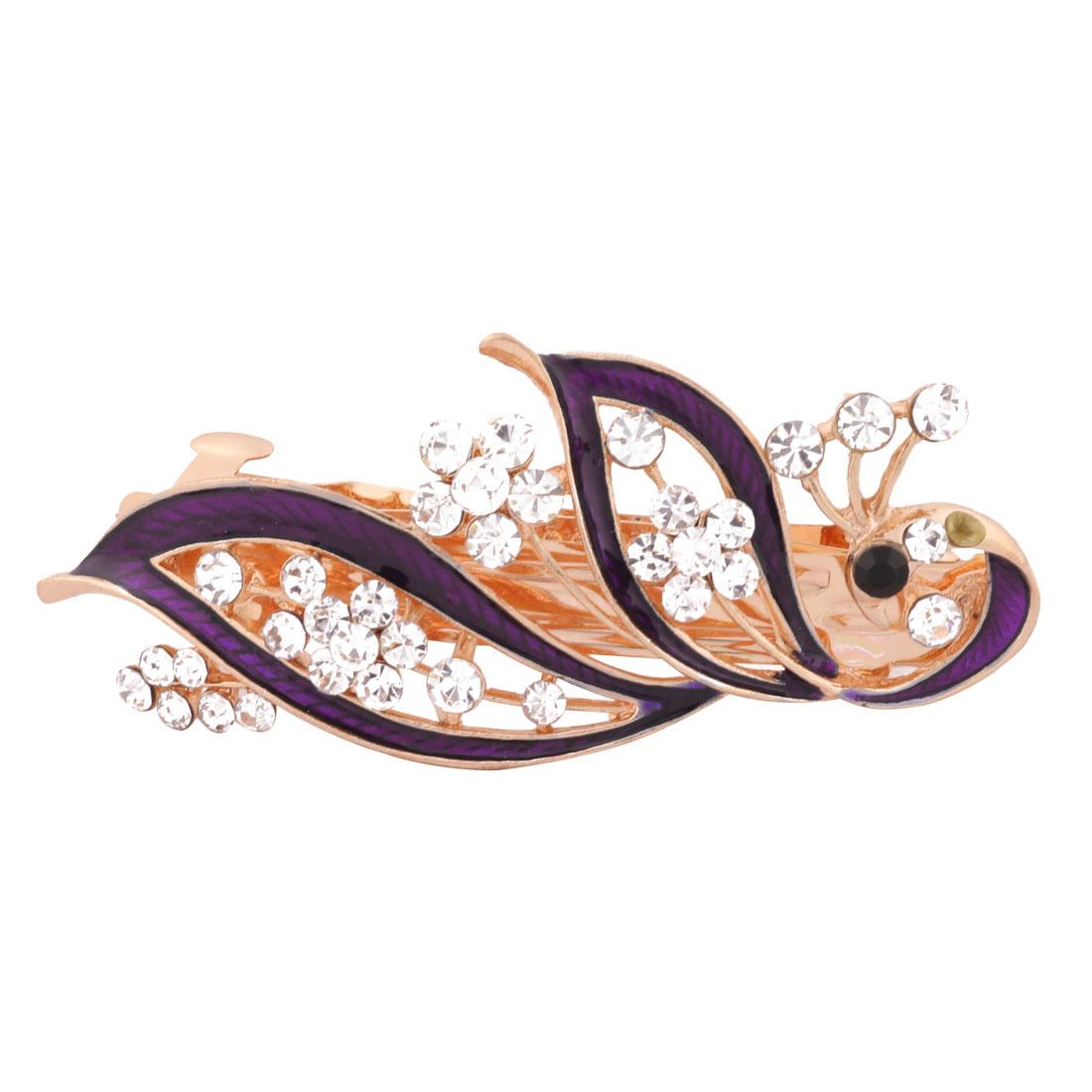 Women Wedding Peacock Design Faux Rhinestone Hairstyle Headwear Hair Clip Purple