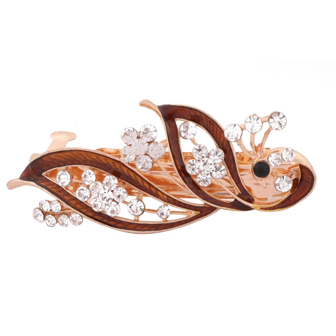 Women Wedding Peacock Design Faux Rhinestone Hairstyle Headwear Hair Clip Coffee Color
