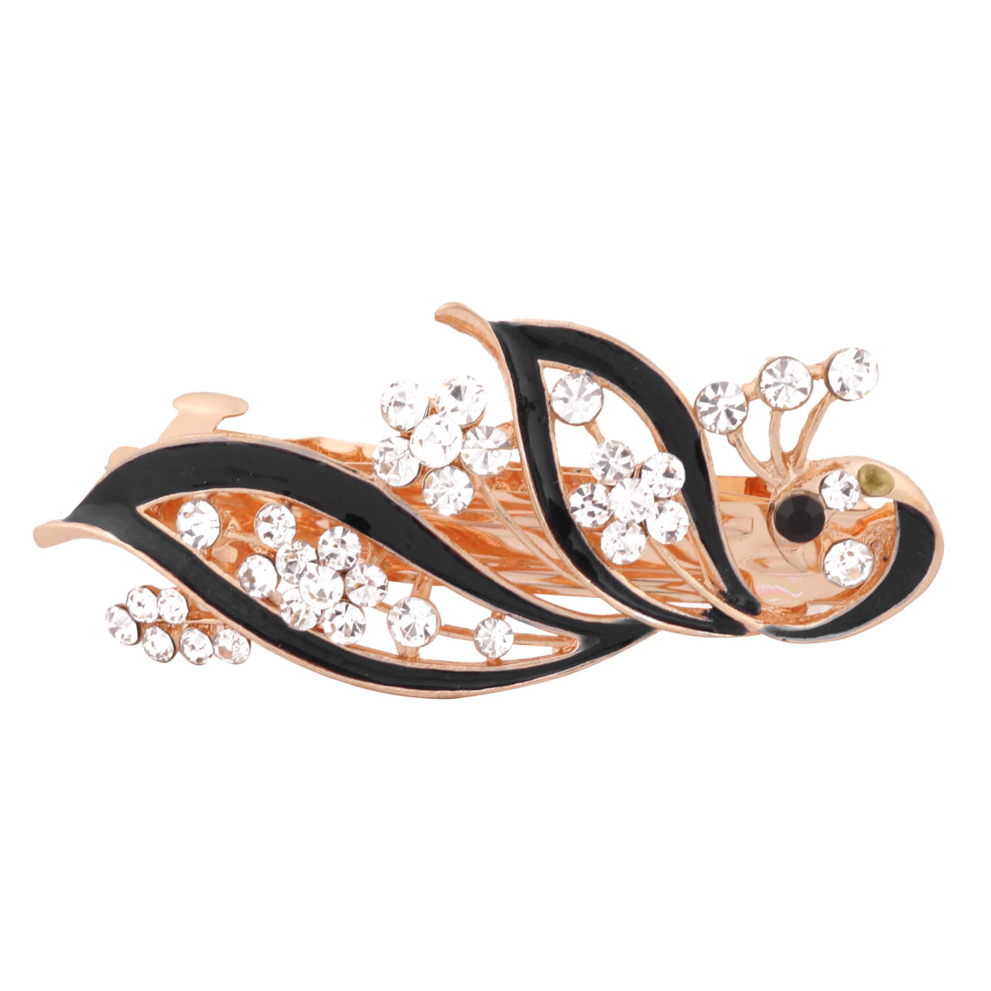 Women Wedding Peacock Design Faux Rhinestone Hairstyle Headwear Hair Clip Black