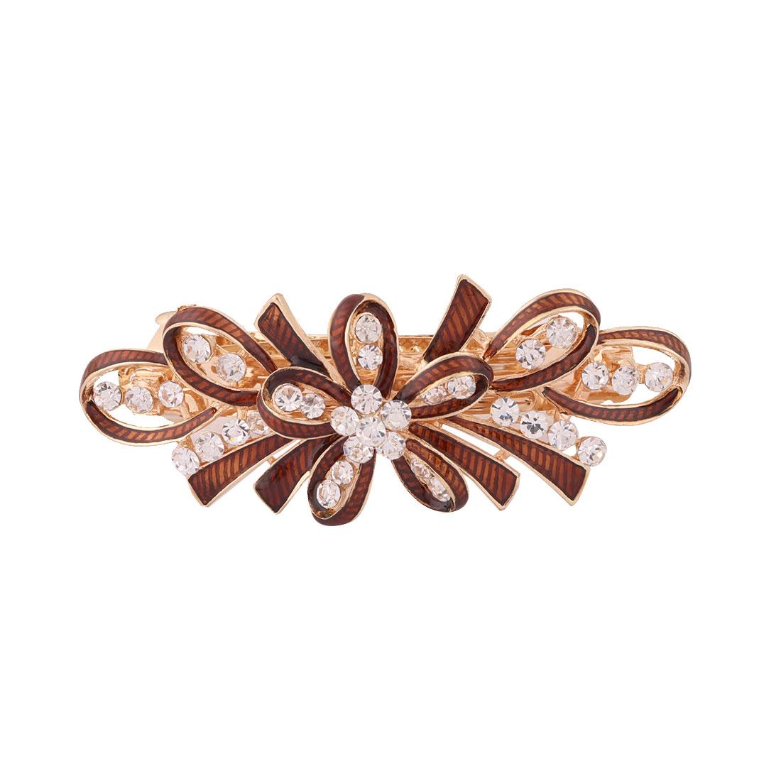 Metal Bowknot Design Faux Rhinestones Inlaid Hairwearing Hair Clip Coffee Color