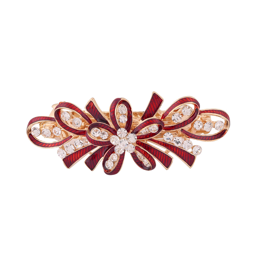 Ladies Metal Bowknot Design Faux Rhinestones Inlaid Hairwearing Hair Clip Red