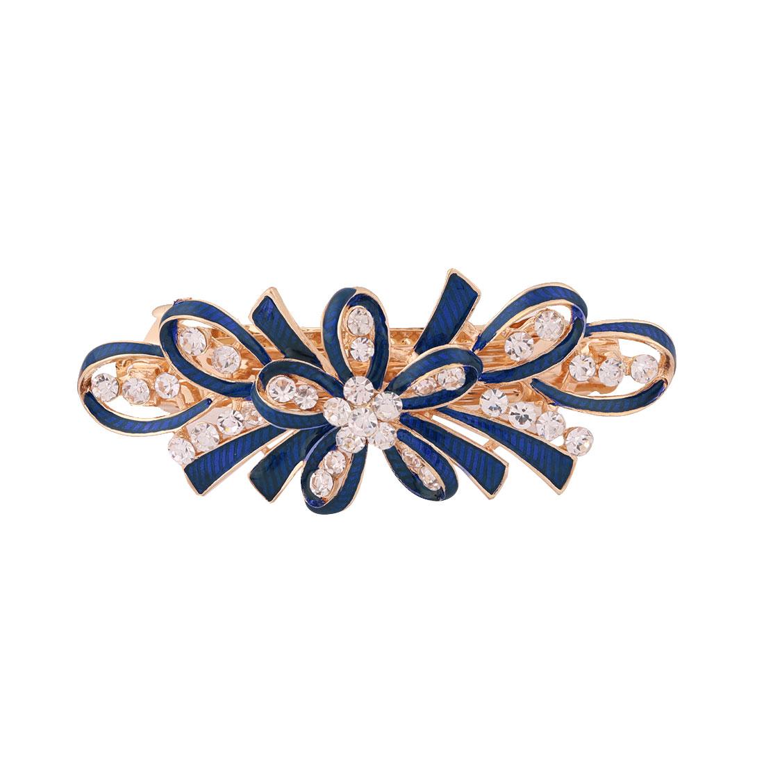 Lady Metal Bowknot Design Faux Rhinestones Inlaid Hairwearing Hair Clip Blue