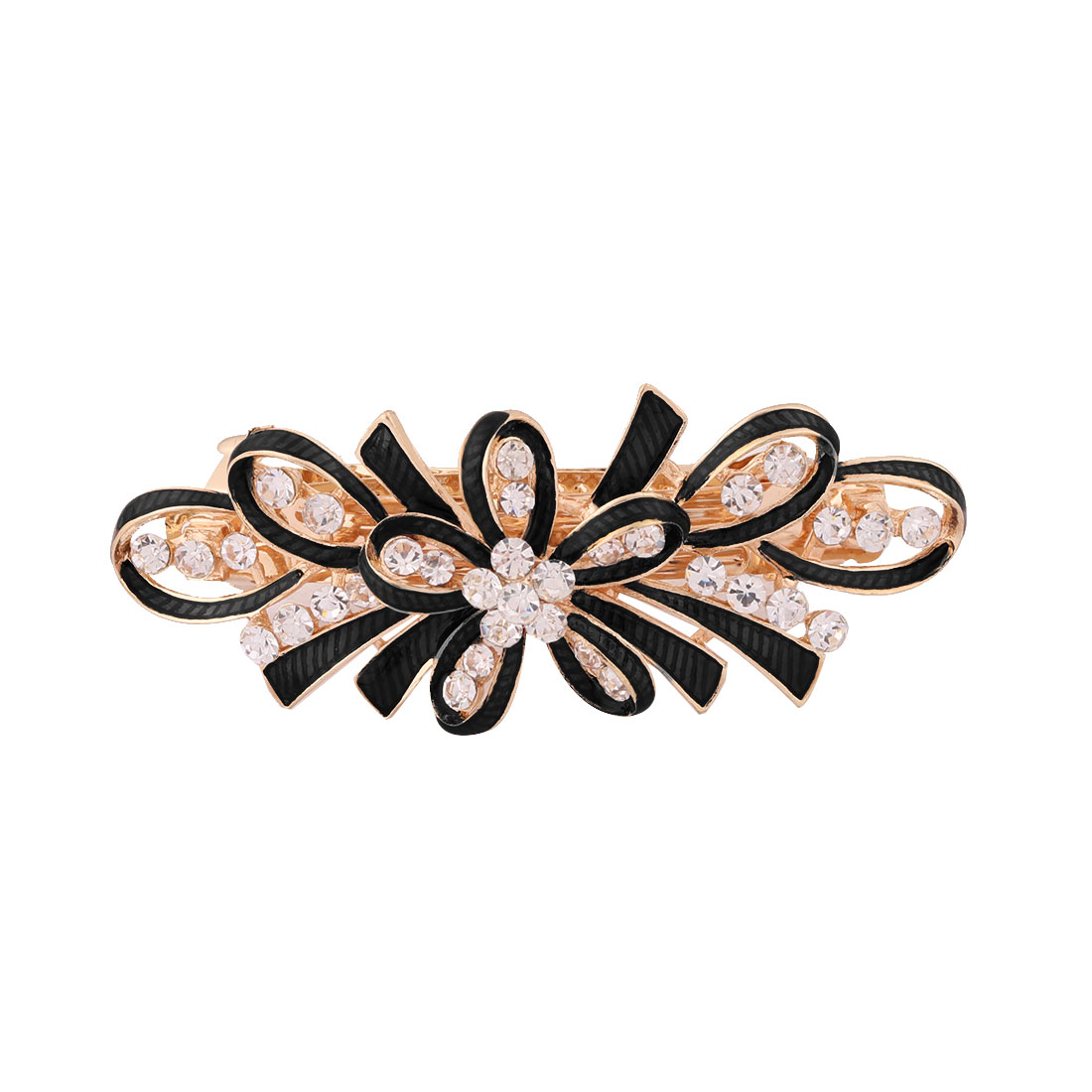Lady Metal Bowknot Design Faux Rhinestones Inlaid Hairwearing Hair Clip Black