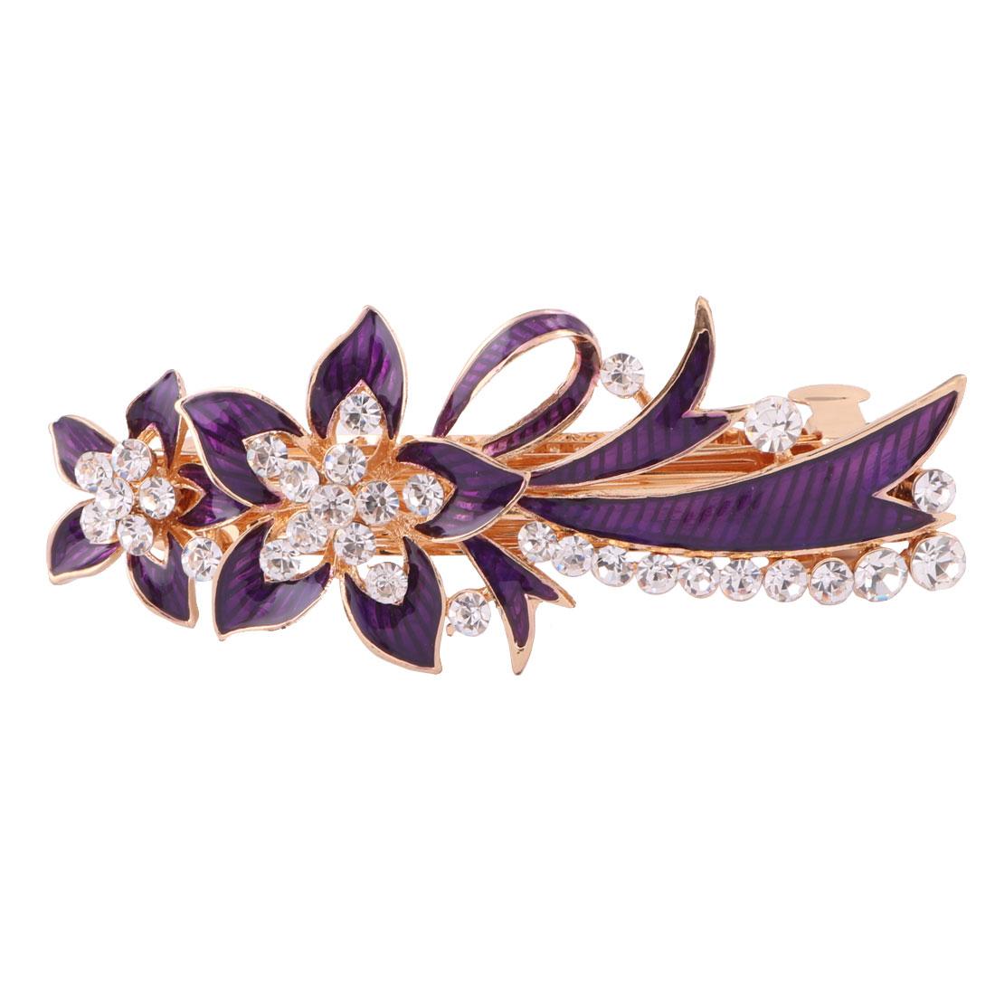 Women Metal Floral Design Faux Rhinestones Inlaid Hairwearing Hair Clip Purple