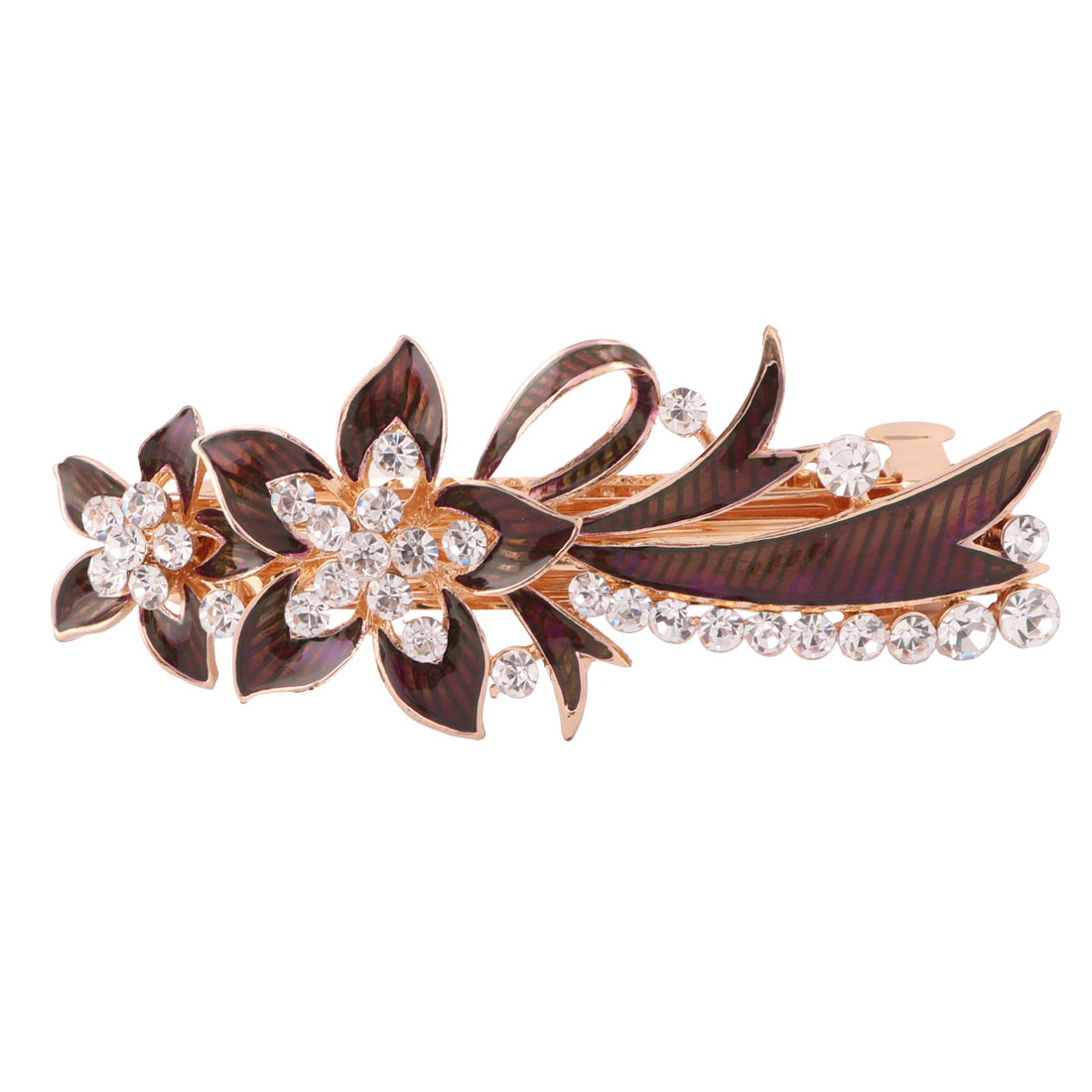 Women Metal Floral Design Faux Rhinestones Hairwearing Hair Clip Coffee Color