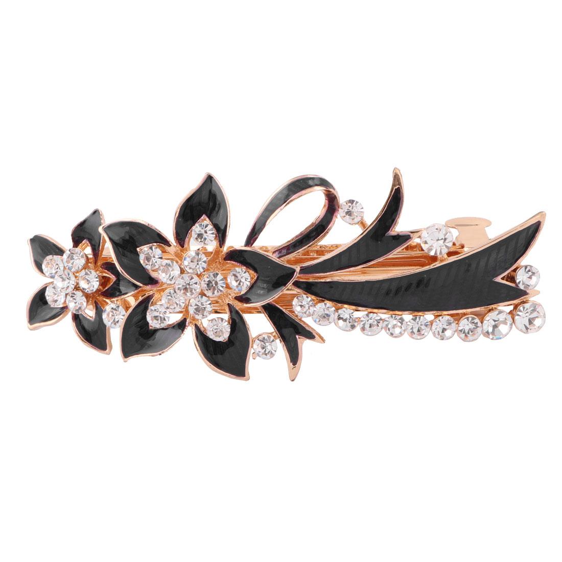 Women Metal Floral Design Faux Rhinestones Inlaid Hairwearing Hair Clip Black