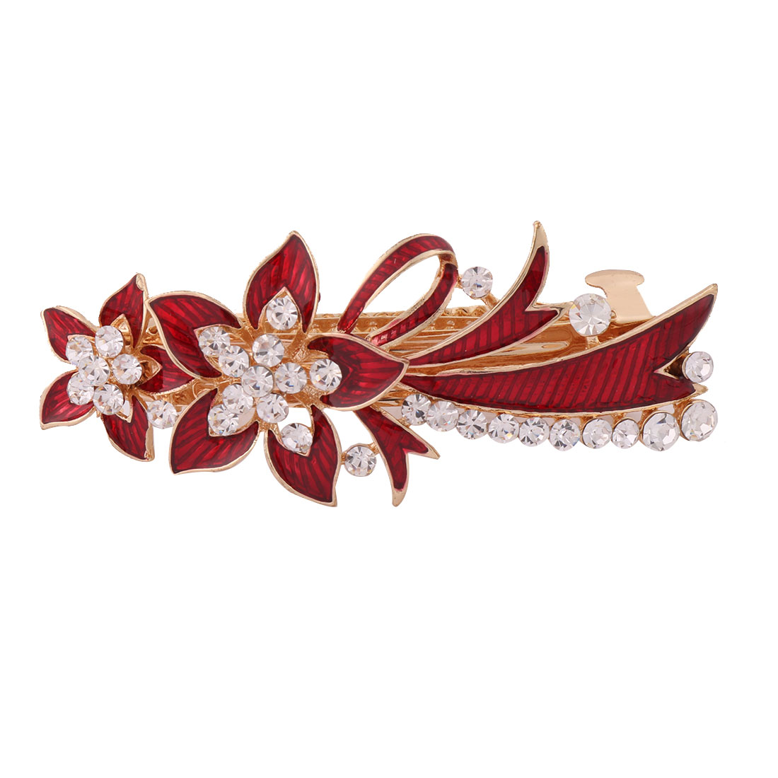 Women Metal Floral Design Faux Rhinestones Inlaid Hairwearing Hair Clip Red