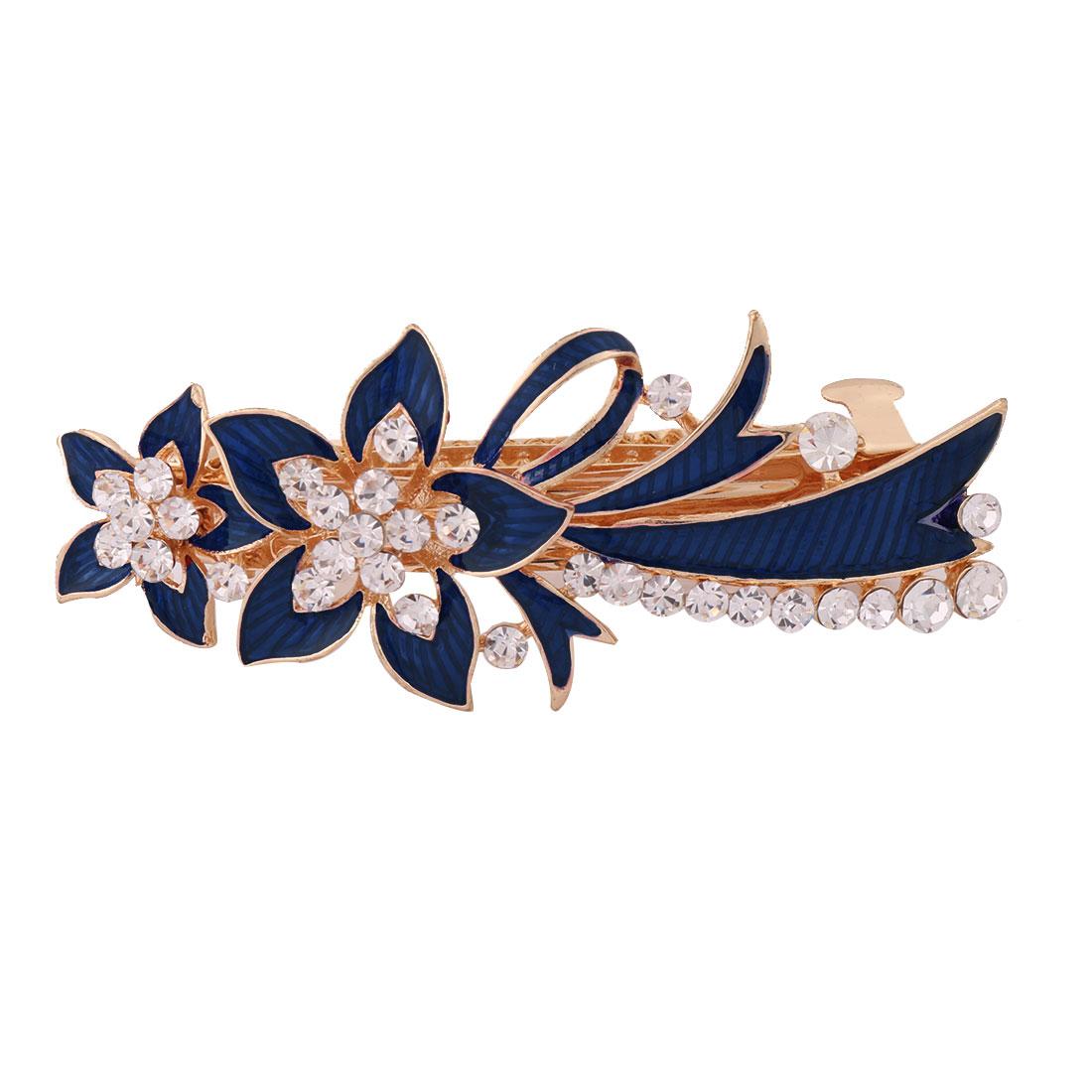 Women Metal Floral Design Faux Rhinestones Inlaid Hairwearing Hair Clip Blue