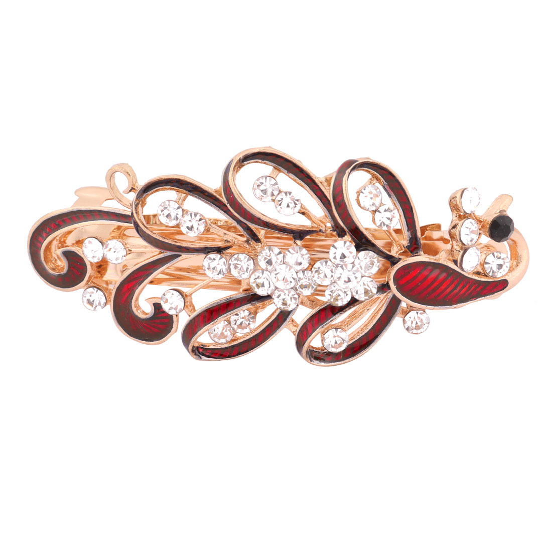 Lady Metal Peacock Design Faux Rhinestones Inlaid Hair Clip Hairpin Red