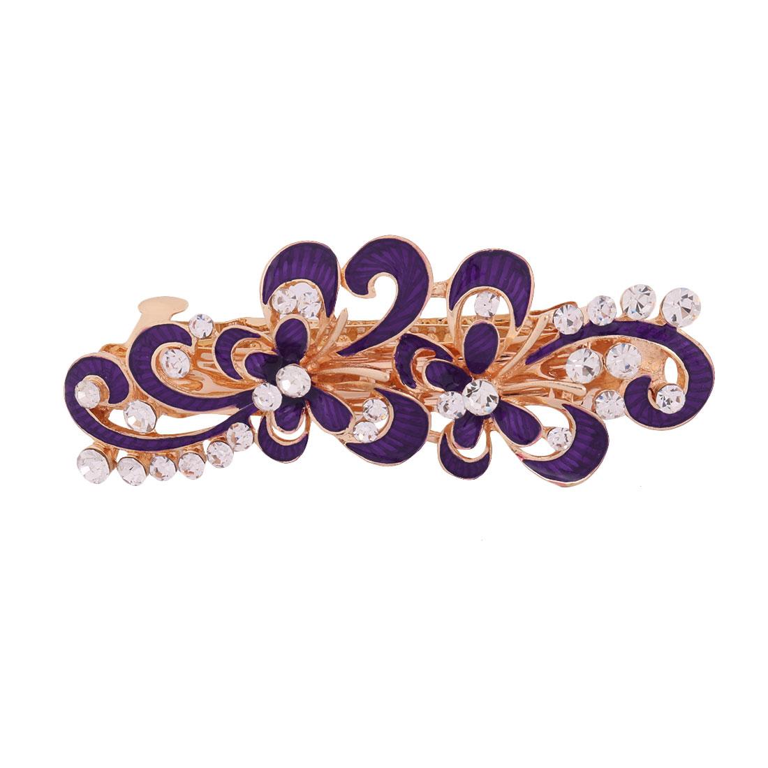 Ladies Metal Flower Design Faux Rhinestones Inlaid Hairstyle Hair Clip Purple