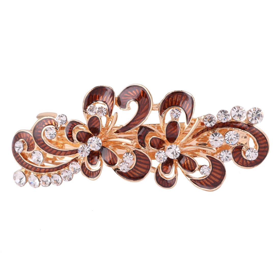 Ladies Metal Flower Design Faux Rhinestones Inlaid Hairstyle Hair Clip Coffee Color