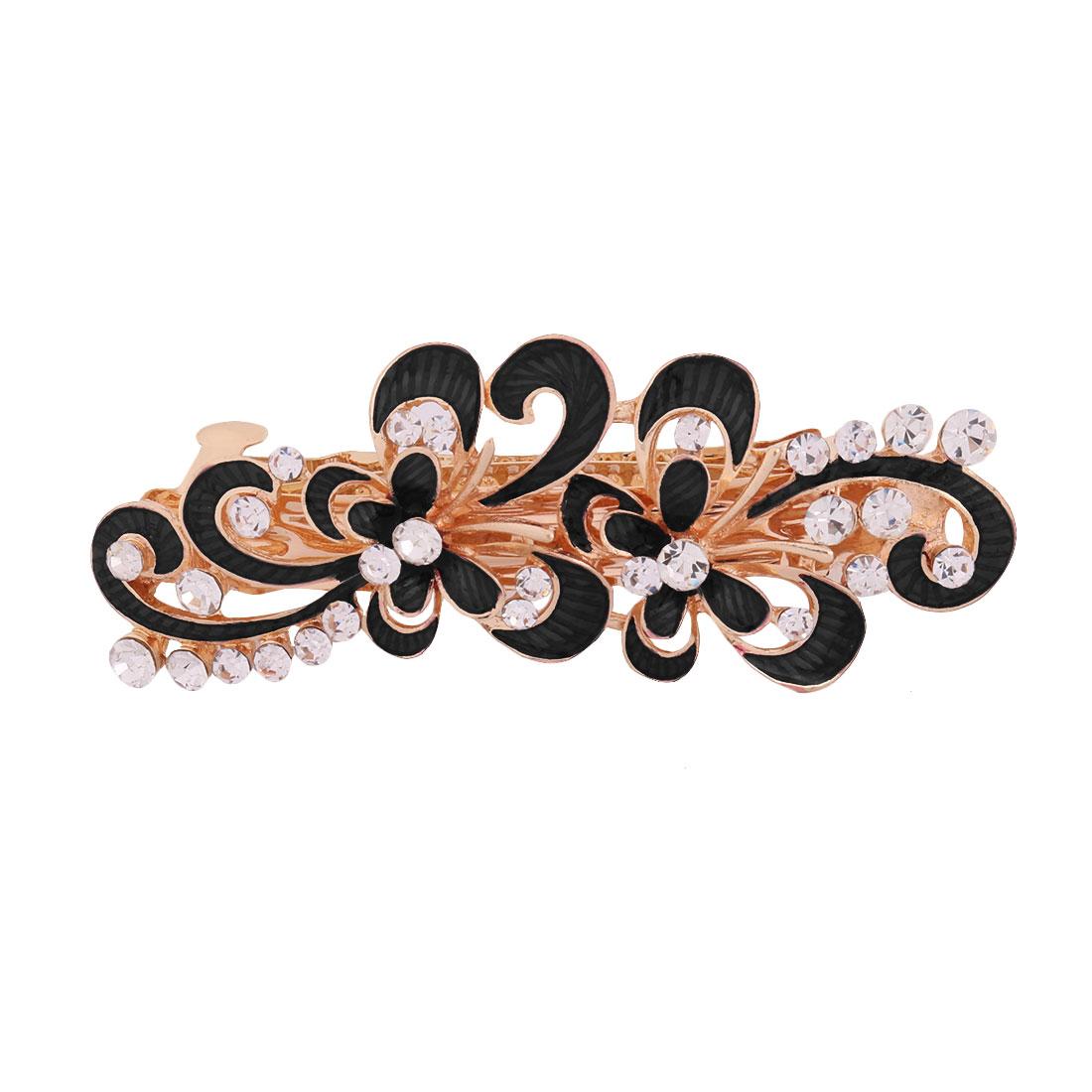 Ladies Metal Flower Design Faux Rhinestones Inlaid Hairstyle Hair Clip Black