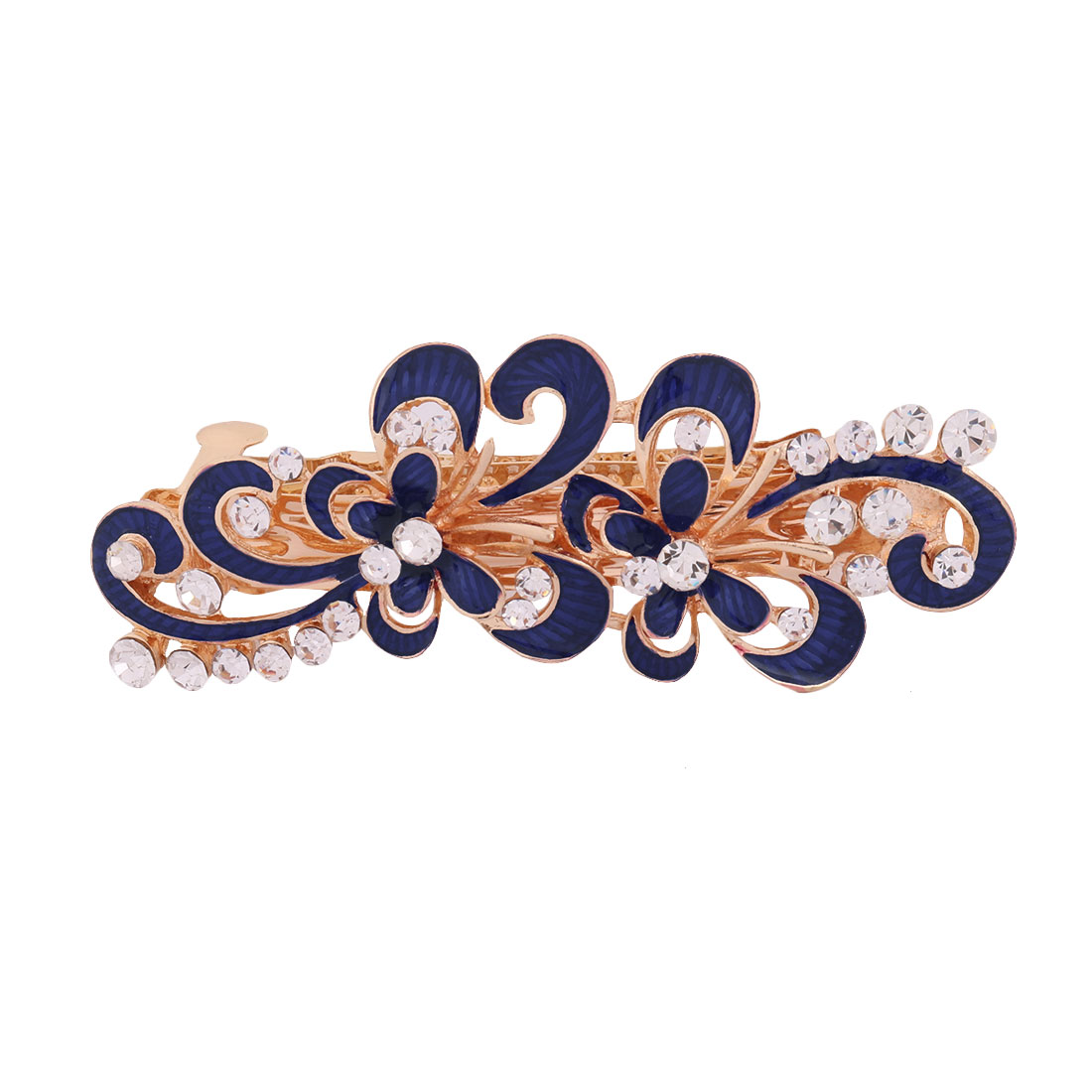 Ladies Metal Flower Design Faux Rhinestones Inlaid Hairstyle Hair Clip Blue