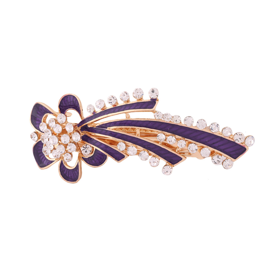 Lady Metal Flower Design Faux Rhinestones Inlaid Headwear Hair Clip Hairpin Purple