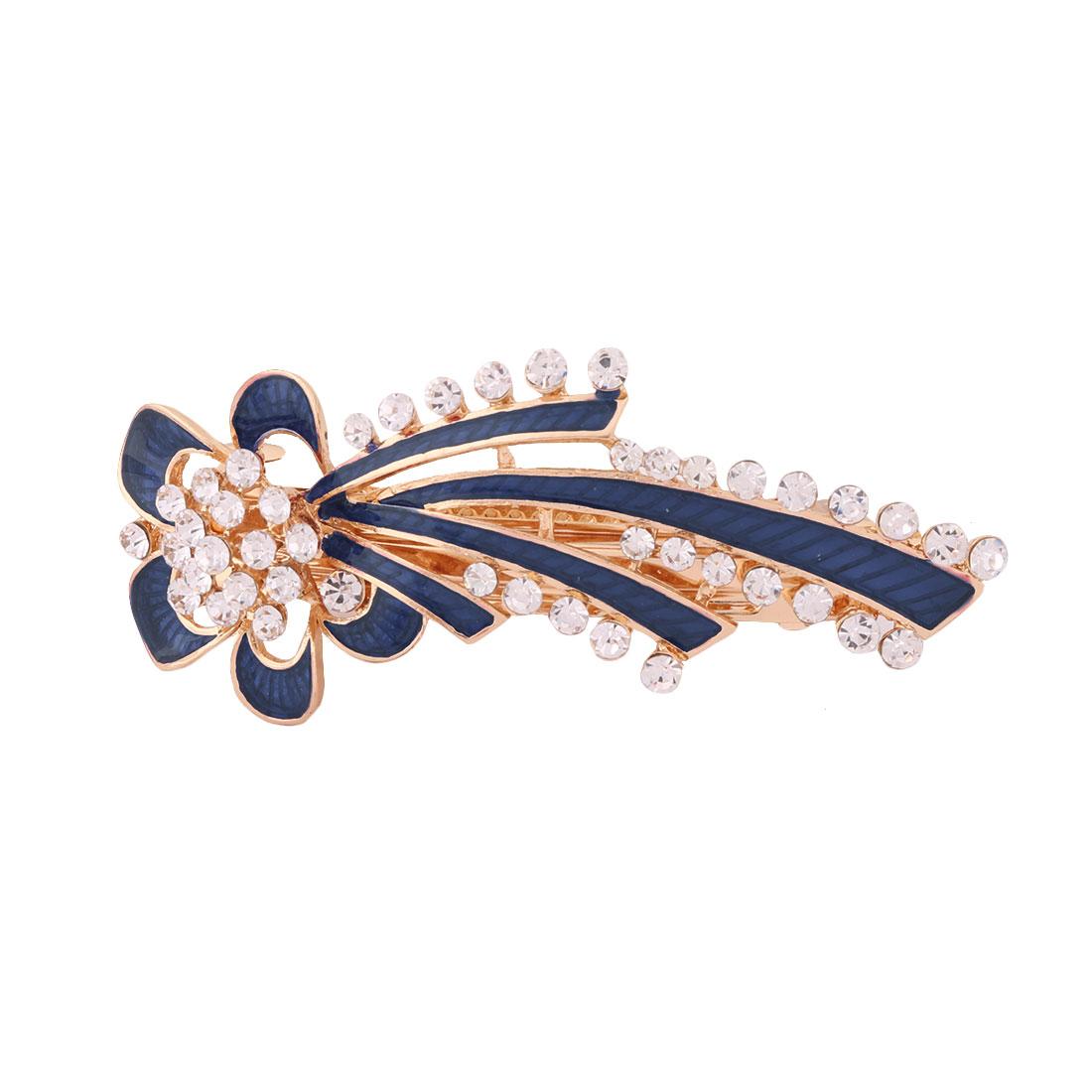 Lady Metal Flower Design Faux Rhinestones Inlaid Headwear Hair Clip Hairpin Blue