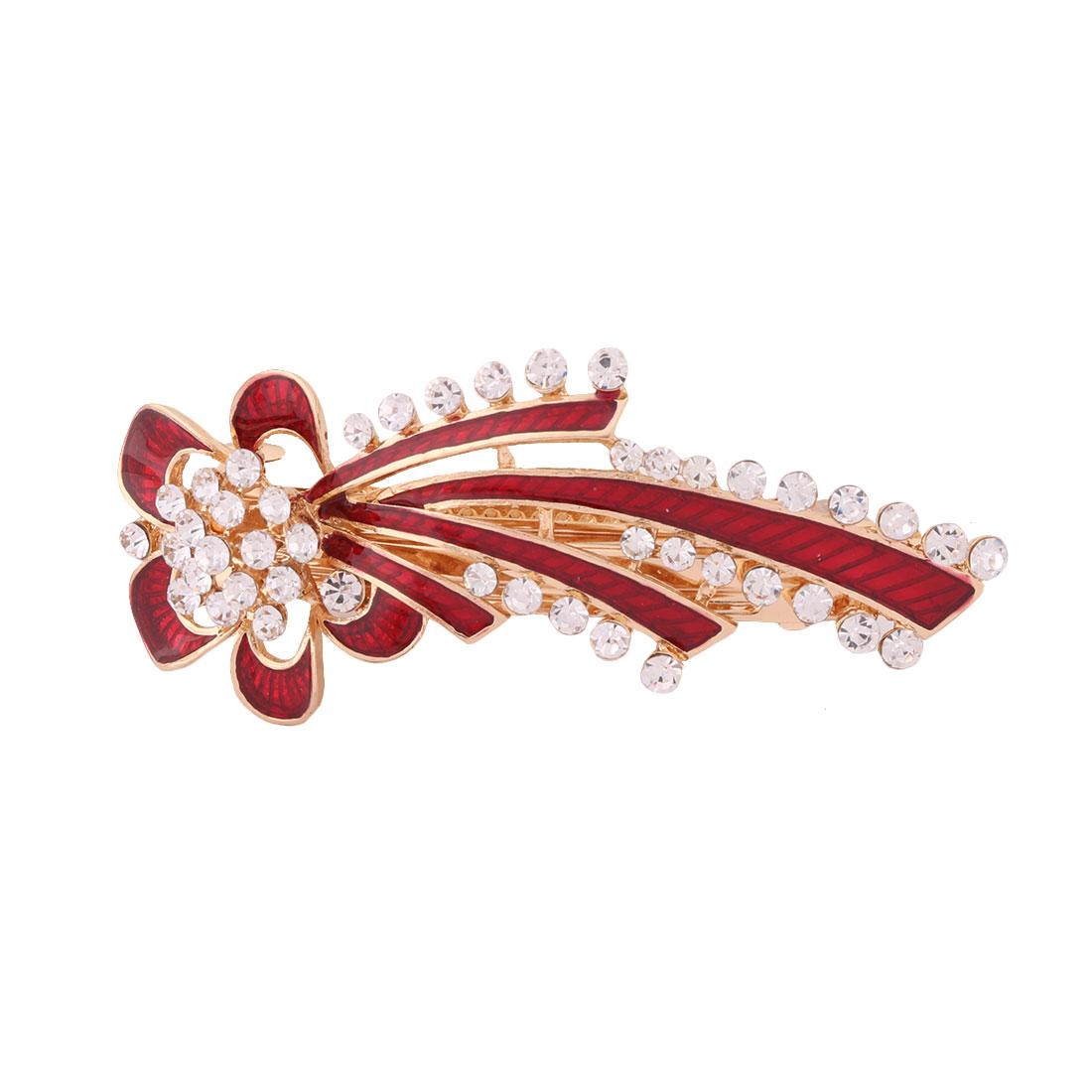 Lady Metal Flower Design Faux Rhinestones Inlaid Headwear Hair Clip Hairpin Red