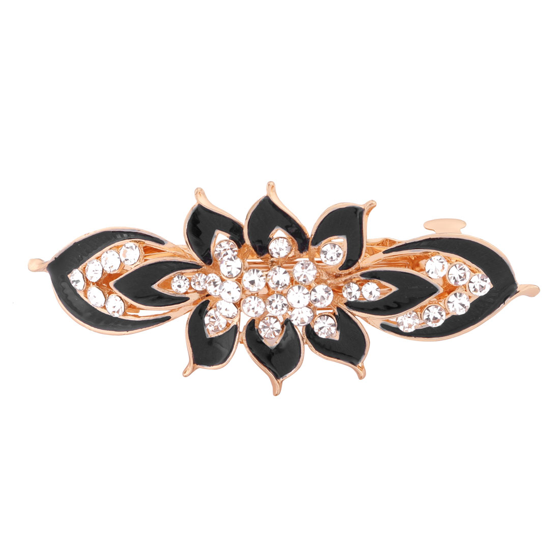 Women Metal Flower Design Faux Rhinestones Inlaid Hair Clip Barrette Hairpin Black
