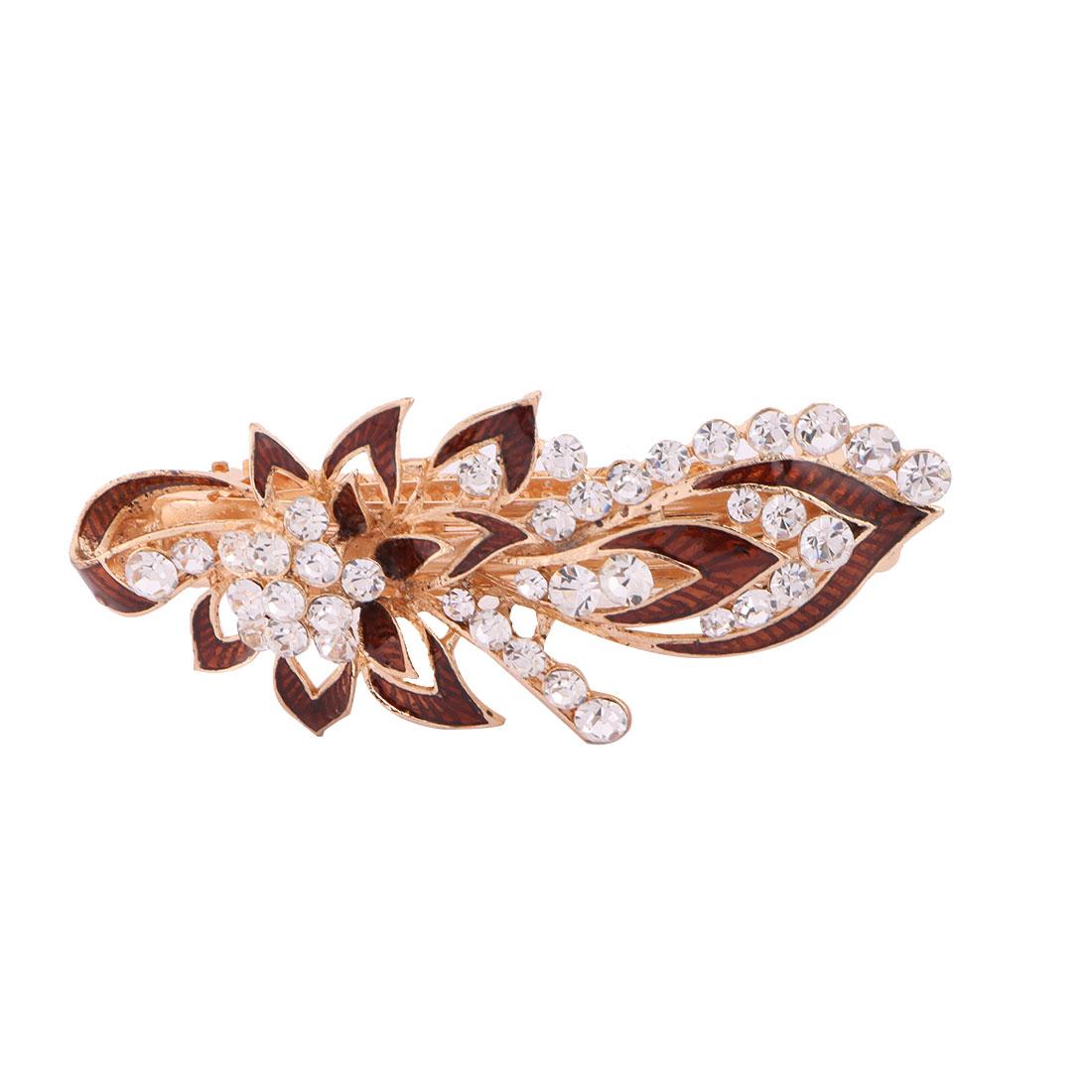 Ladies Metal Flower Design Faux Rhinestones Inlaid Hair Clip Clasp Hairpin Coffee Color