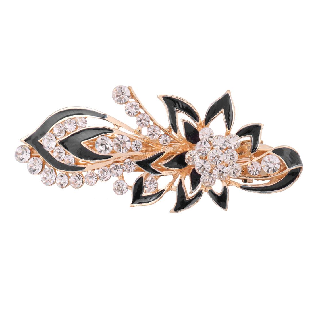 Ladies Metal Flower Design Faux Rhinestones Inlaid Hair Clip Clasp Hairpin Black