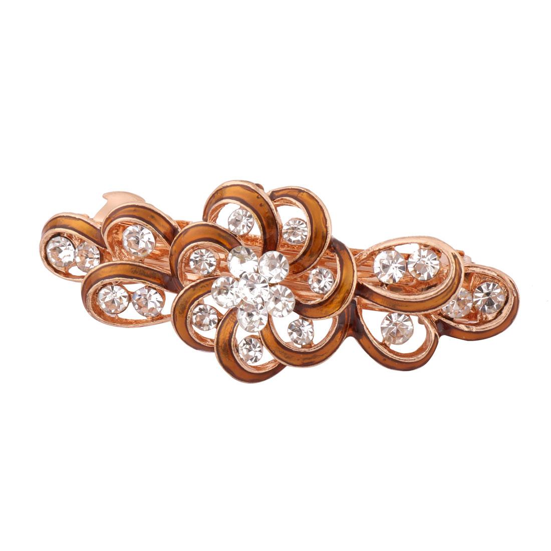 Lady Wedding Metal Floral Design Faux Rhinestone Headwear Hair Clip Clasp Brown