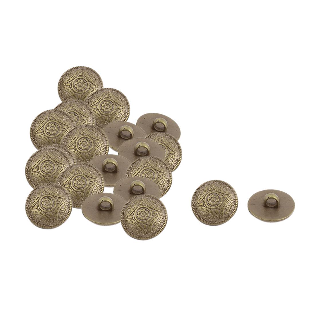 Home Plastic Flower Pattern DIY Decor Clothes Dress Buttons Bronze Tone 20 Pcs