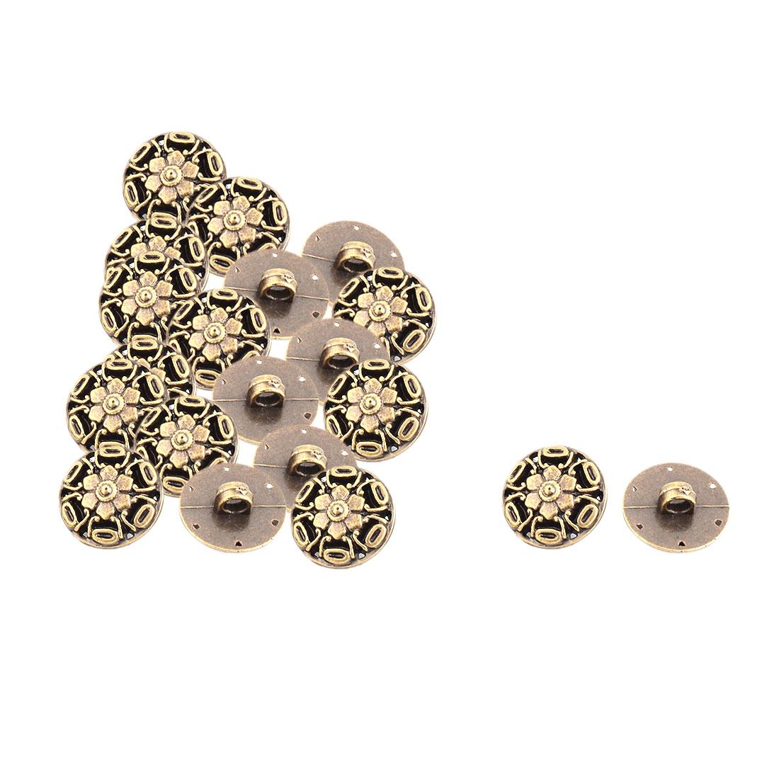 Home Plastic Flower Pattern Round Handmade DIY Decor Clothes Buttons 20 Pcs