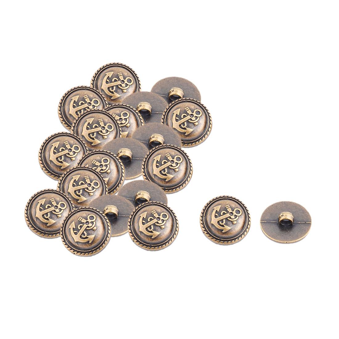 Home Plastic Craft DIY Decor Clothes Dress Jeans Buttons Bronze Tone 20 Pcs