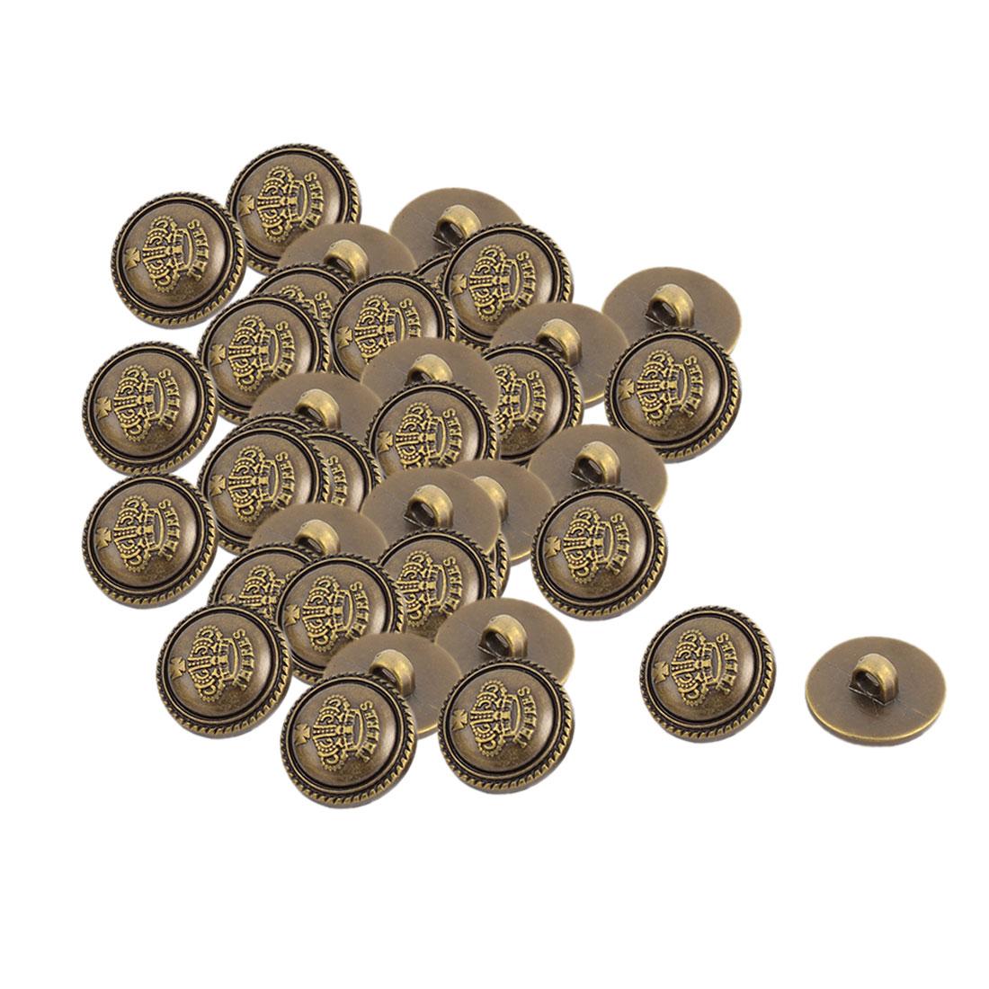 Home Plastic Crown Pattern DIY Decor Clothes Jeans Buttons Bronze Tone 40 Pcs