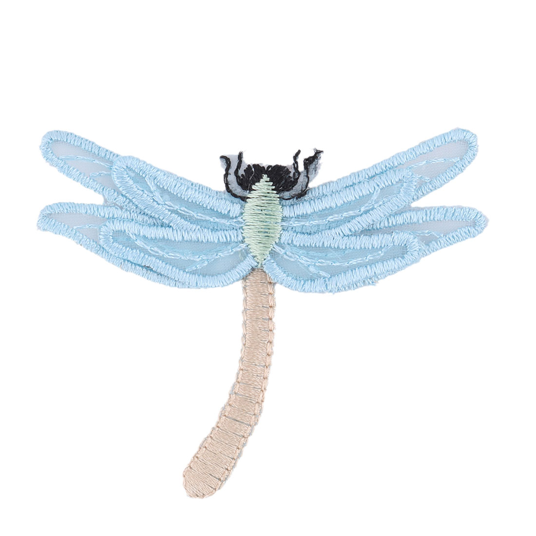 Home Organza Dragonfly Design Embroidered DIY Clothes Decoration Lace Applique Blue