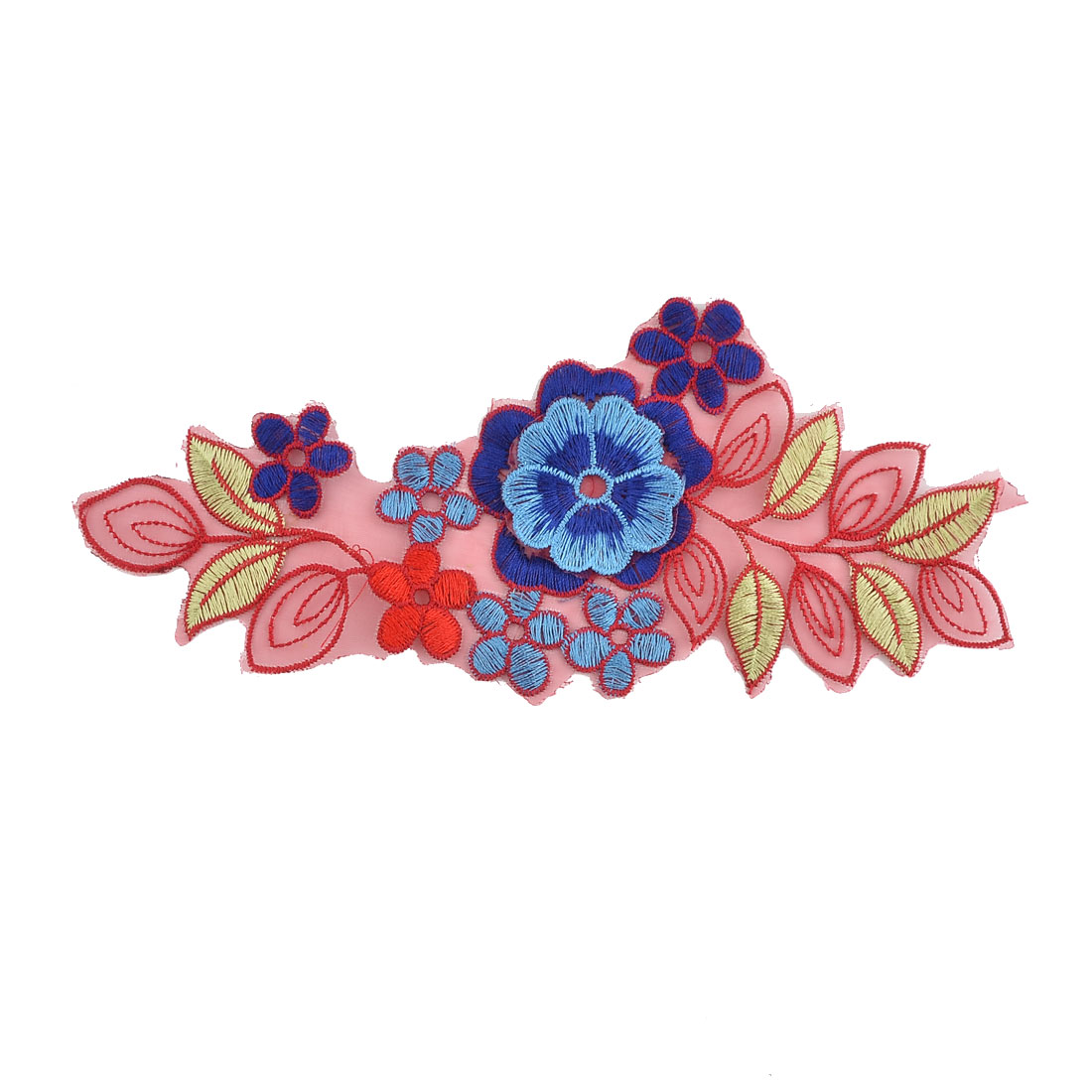 Polyester Flower Shape Embroidery Clothes Sewing Patch Decor Lace Applique Blue
