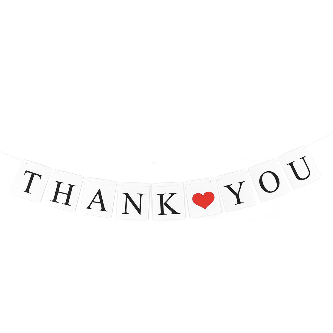 THANK YOU Letter Heart Pattern Card Rope Hanging Party Decor Photo Prop Banner