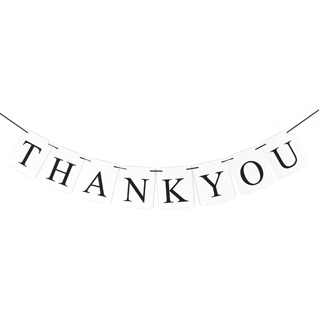 THANK YOU Letter Print Rectangle Card Rope Wall Hanging Party Decor Photo Prop Banner
